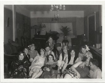 Old Photo Women and Men at Costume Party wearing Costumes 1930s Photograph Snapshot vintage