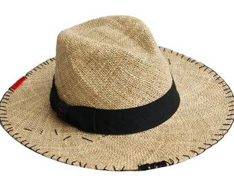 Wide Brim Straw Hat With Ethnic Tapestry , Fedora Stra  , Womens Straw Fedora Hat , Fedora Summer Hat , Wide Brim Hat