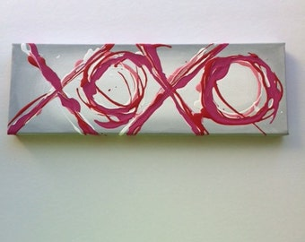 Valentines Decor XOXO 4x12 Original Painting Abstract Drip Painting