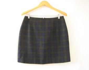 90s Green/Blue Tartan Plaid Miniskirt High Waist A-Line Skirt Grunge School Girl Pastel Goth // L