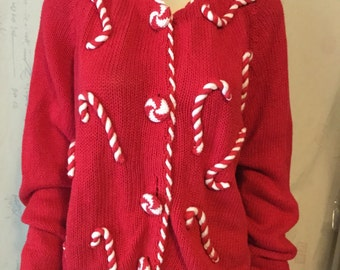 Vintage Christmas Cardigan with Pepermint Cane front.