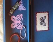 Jewelry box, storage box, recycled box, cigar box, butterflies, mixed media, art box, repurposed boxes