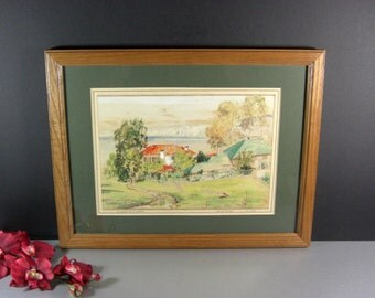 La Jolla Fishing Pier Water Color Painting by Texas Artist Henry Houpy / Signed Dated 1944 Framed under glass
