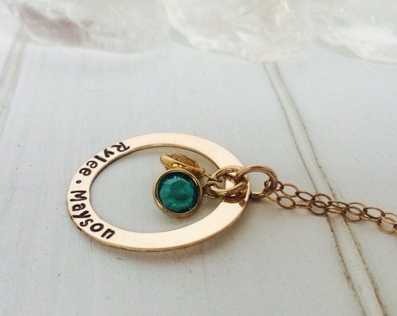 "Mother, Grandmother, Nana 14kt Gold Fill, Filled Personalized Custom Made Hand Stamped 2, Two Name Necklace on Washer with Birthstones (1"")"