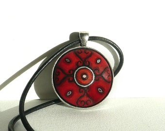 Big Red Necklace, Hand Painted Pendant Bezel Necklace, Art Jewelry, Red Leather Cord Necklace, String Charm