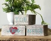 Anniversary - Love You More Sign - Wood Blocks - Long Distance Relationship - Conversation Blocks Shelf Sitters -