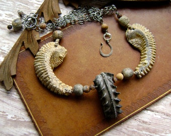 Ancient Treasure, assemblage necklace, ancient fossil ammonite necklace, unique, fossil seashell, chainmaille, fossil bead, AnvilArtifacts