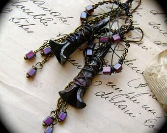 raku assemblage earrings, mixed media earrings, chain jewelry, rustic tribal, ScorchedEarth, unique ooak, wire hoop earrings, AnvilArtifacts