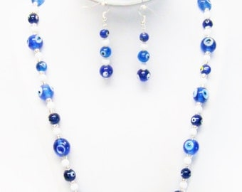 Assorted Shape/Sizes Blue Lamp Work Beads Necklace/ Bracelet/Earrings Set
