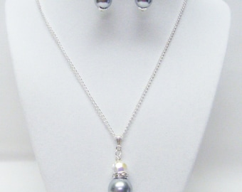 Silver Glass Pearl w/ Swarovski Crystal Rondelle Pendant Necklace & Earrings Set