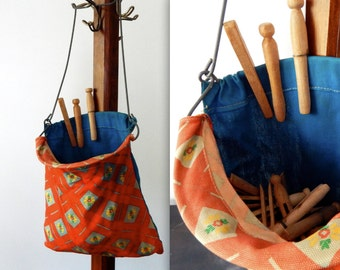 vintage wooden clothespins clothespin bag 60s mid century laundry room decor red clothing line bag retro outdoors laundry bag storage