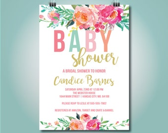Colorful Floral Baby Shower Invite, Baby Shower, 5x7, Girl - candice