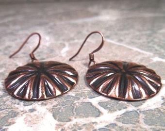 Copper Earrings, Concho Earrings, Disk Earrings, Rustic Earrings, Everyday Jewelry, Jewelry Gift, Gift for Her, Ready to Ship, Drop Earrings