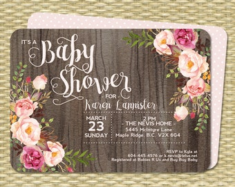 Baby Shower Invitation Baby Girl Shower Rustic Watercolor Dark Wood Roses Peonies Pink Blush Raspberry Floral Sip and See