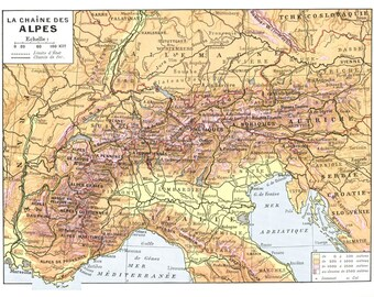 1936 Vintage map of the Alps map wall hanging Alps map Vintage map of Alps Europe map Trekk gift Alps mountains map mountaineer gift