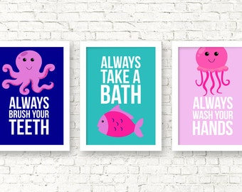Girls bathroom prints, nursery bathroom wall art, jellyfish octopus fish bathroom kids art, bathroom rules, home decor, nursery art, B-3068