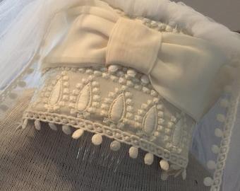 60s Bow Top Ball Lace Edged Wedding Veil
