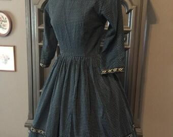 50s L'Aiglon Blue Print Cotton Day Dress