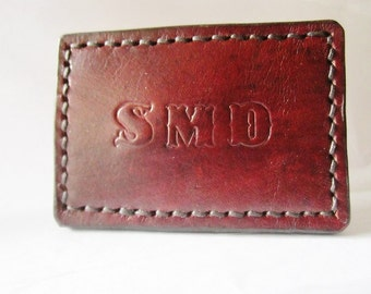 NEW Leather Belt Buckle - All Leather Buckle - Hand Stitched and Dyed - Customized Initials