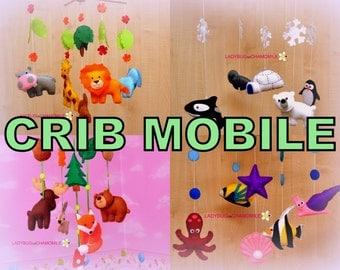 Baby Crib Mobile ,Baby Mobile ,Nursery Crib Mobile Safari ,Felt Safari animals, Arctic animals,