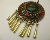 SALE - Reduced - Ethnic Tibetian Style Handmade Copper Pendant Red Coral Green Amber Resin Beads Decorated #164