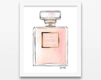 COCO Mademoiselle Chanel Perfume Illustration | Fashion Drawing, Wall Art, Fashion Illustration, Chanel Print, Perfume Coco, Custom Art
