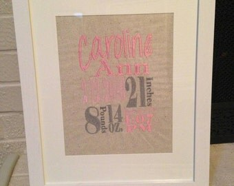 Embroidered Baby Birth Announcement