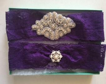 Wedding Garter Set - Purple Garter Set on a  Lace Garter