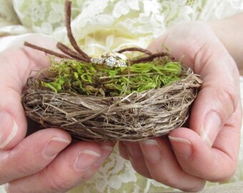 Bird Nest Ring Bearer Pillow - Twig Nest and Green Moss - Rustic Woodland Wedding