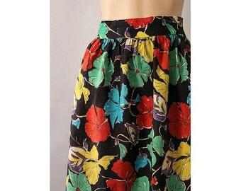 1940s  Floral Skirt 40s cotton skirt
