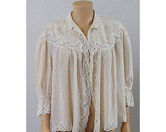 1920 french silk  & lace lingerie bed jacket medium