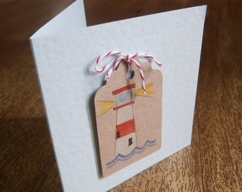 Lighthouse card.Individually made seaside theme card for any occasion