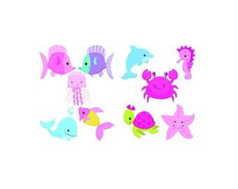 Set of 10 Sea Designs Iron On Heat Transfers.. Pink Sea,   Baby Girl, Baby Shower