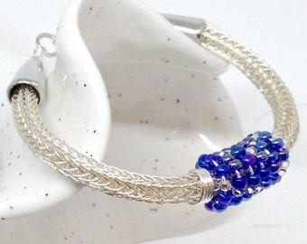 Ladies silver viking knit bracelet with cobalt beads