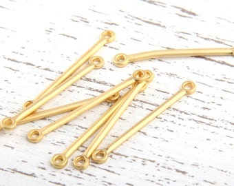 Gold Bar Connector Links, Mini Gold Links, 22k Matte Gold Plated, 10 pieces // GC-409
