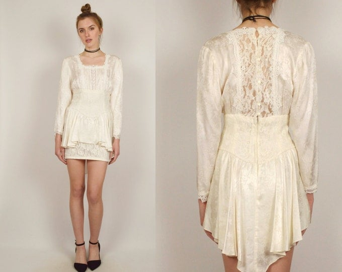 80's White Silk Lace Mini Dress Vintage