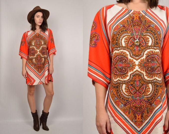 70's Paisley Print Shift Mini Dress