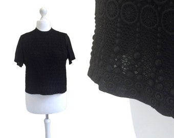 Black Lace And Georgette 1960's Blouse - 60's Blouse - Black Top - Courtaulds Tricel Top