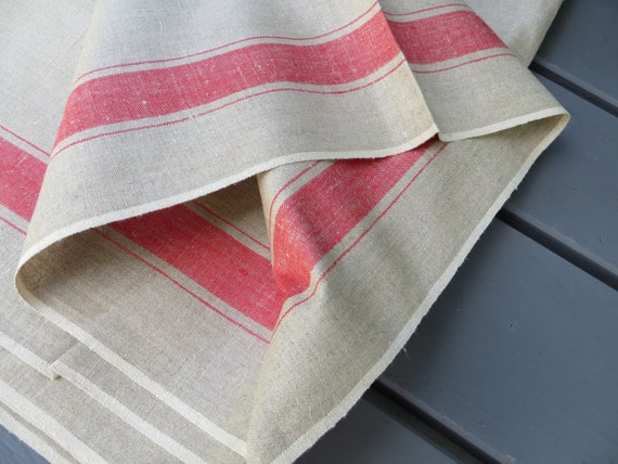 Free Shipping Wordw Linen   Mangle Cloth   Red  White Stripes  Fabric for  Pillow Bag Curtain Upholstery Roman Blind Roman Shades Runner