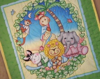 Cute and Cuddly Baby Zoo Animals in Pajamas Quilt for a Boy or Girl