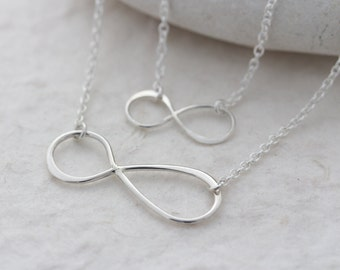 Sterling Silver Infinity Necklace, Mother daughter Necklace, mom mothers gift, grandmother gift, grandma gift