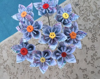 Map Paper Flower with Stem // Origami Kusudama Paper Flower Bouquet/ Flower Arrangement/ Centerpiece/ Wedding/ Bridal Bouquet