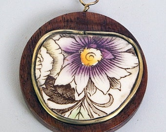 Vintage Wood Pendant  with Porcelain and Brass