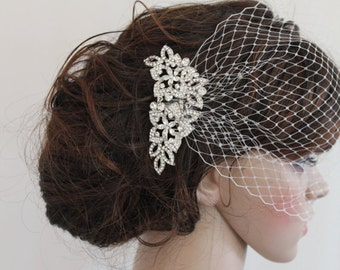Wedding Fascinator Bridal birdcage veil Wedding hair comb Bridal Fascinator Wedding birdcage veil Bridal veil Wedding hair accessory Bridal
