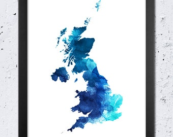 UK Map Watercolor Print United Kingdom Silhouette Blue Cyan Color Modern
