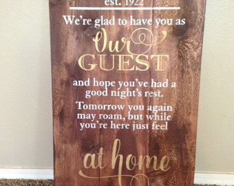 "Family Established custom guest quote sign 16.5 x 28"" hand painted on rustic wood"