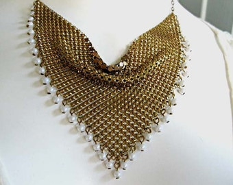 Gold Mesh Triangle Choker Necklace, Faux Pearl Drops, Petite Triangle Bib Collar, White Glass Pearl Mini-Beads Fringe Border