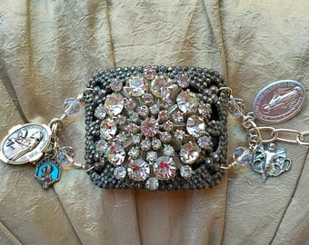Victorian French Cut Steel Buckle Assemblage Bracelet With Antique Rhinestone Brooch Accent and Religious Medals
