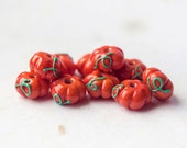 Reserved for Robert - DO NOT BUY! - Dark orange pumpkins_orange green beads_artisan lampwork glass_plant vegetable beads_Jack-o-lantern