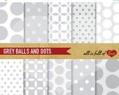 80% off GREY Digital Paper Balls Polka Dots Scrapbook Printable Backgrounds 12/15
